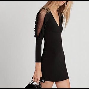 Ruffle Sleeve Mini Sheath Dress Black Large